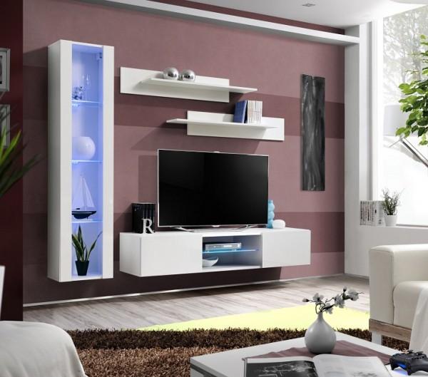 FORMERA TV Schrankwand Frankfurt RN2 AV Hochglanz Hochglanz weiß/schwarz, Wohnzimmerwand, TV-Wand