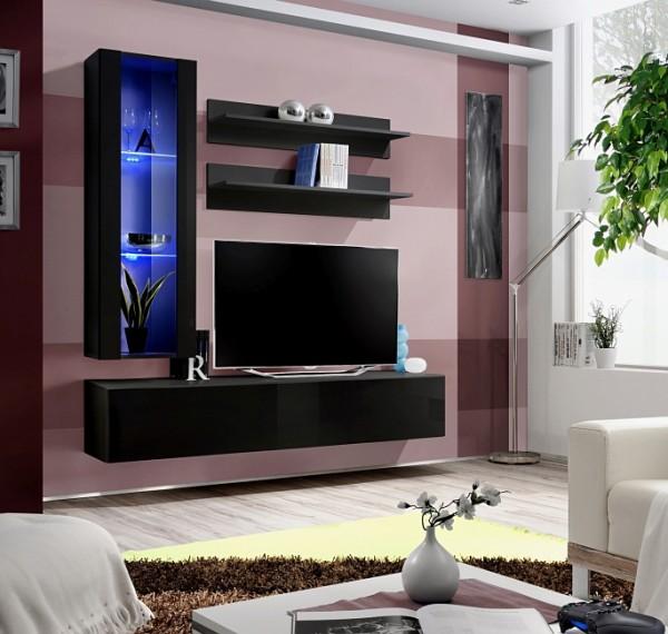 FORMERA TV Schrankwand Frankfurt HN2 Hochglanz weiß/schwarz, Wohnzimmerwand modern