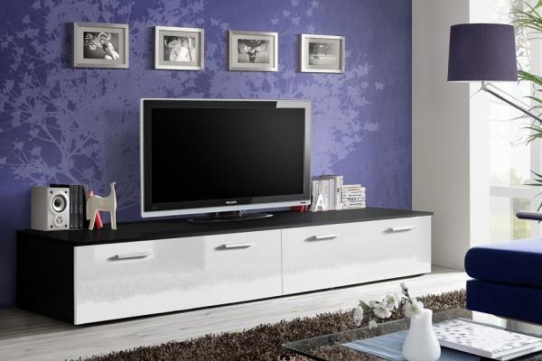 FORMERA TV-Lowboard Rimini, Hochglanz weiß/schwarz, TV-Schrank, TV-Lowboards, TV-Boards, Hifi-/TV-Mö
