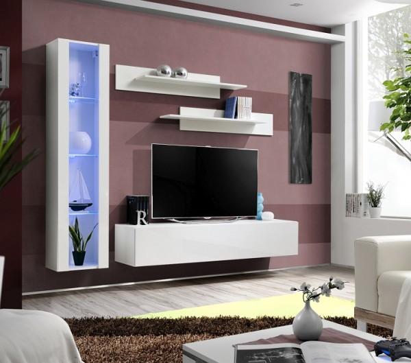 FORMERA TV Anbauwand Frankfurt GN2 Hochglanz weiß/schwarz, Wohnzimmerwand modern