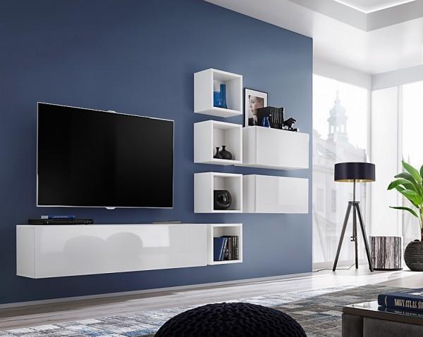 FORMERA TV Kombination Boston X7 Hochglanz weiß/schwarz, Schrankwand, TV-Wand