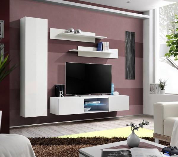 FORMERA TV Schrankwand Frankfurt RN1 AV Hochglanz weiß/schwarz, Wohnzimmerwand, TV-Kombination