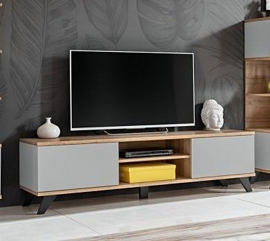 FORMERA TV-Möbel Bologna, grau/Eiche, TV-Schrank, TV-Lowboards, TV-Boards, Hifi-/TV-Möbel